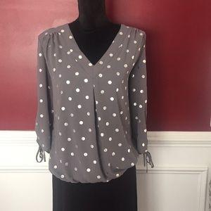 Gray and silver polka dot blouse